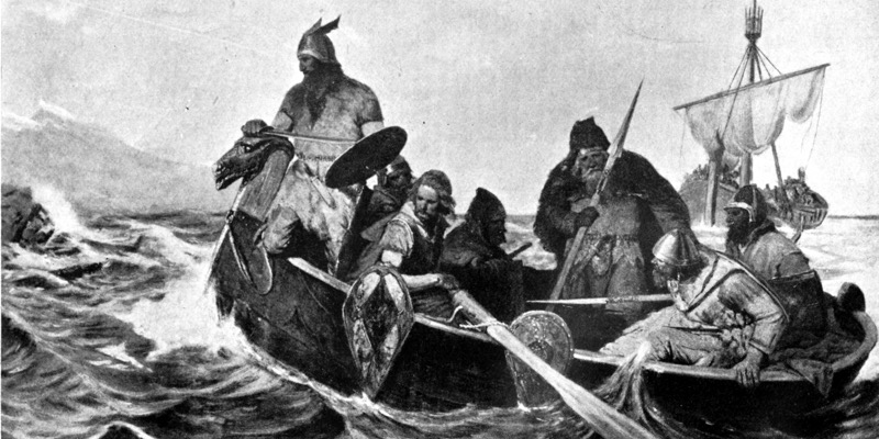 Norsemen aboard their small ship